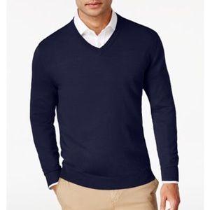 Men's Solid V-Neck Merino Wool Blend Sweater